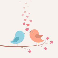 Birds With Love And Hearts On Branch.