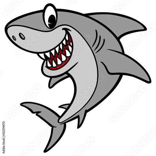 Fotografie, Obraz  Shark Cartoon Illustration