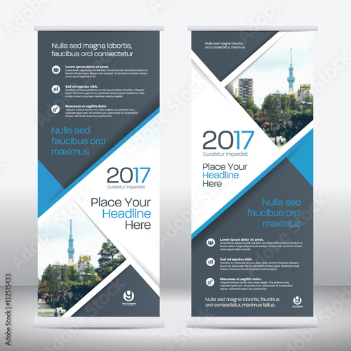 Blue Color Scheme with City Background Business Roll Up Design ...
