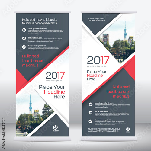 Fotografie, Obraz  Red Color Scheme with City Background Business Roll Up Design Template