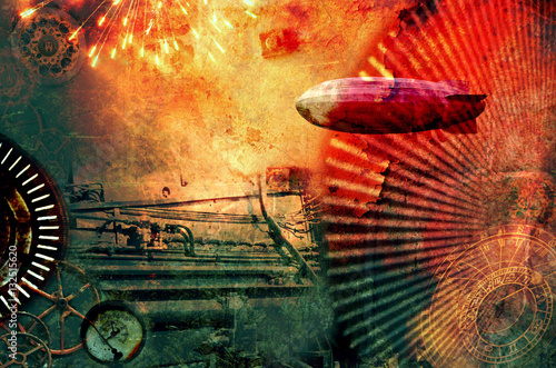 Photo  Vintage steampunk design background with cogs, airship, clocks, fireworks and steam engine elements