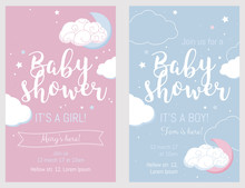 Baby Shower Set. Cute Invitation Cards For Baby Shower Party.