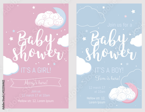 Obraz Baby shower set. Cute invitation cards for baby shower party. - fototapety do salonu
