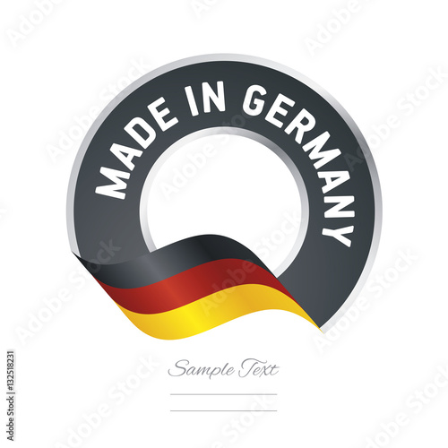 Fotografie, Obraz  Made in Germany flag black color label button banner