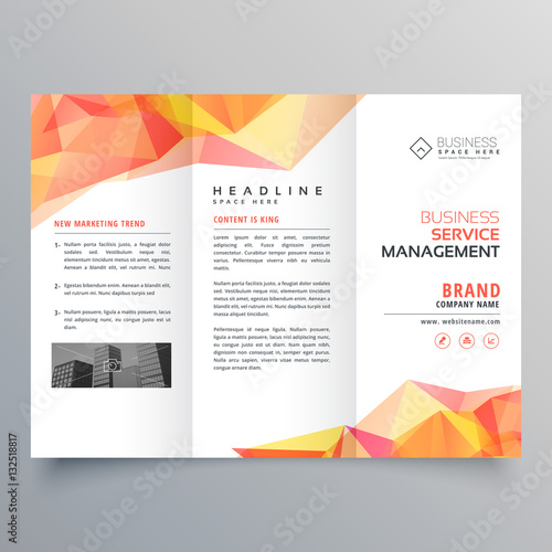 abstract polygonal orange shapes trifold brochure design Wall mural