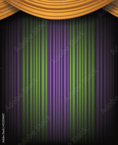 Mardi Gras Background With Spotlight And Purple Gold Green Dramatic Curtains For