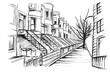 Panorama Nowego Jorku w dzielnicy Brooklyn. Rysunek ręcznie rysowany na białym tle.