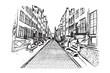 Panorama Gdańska. Rysunek ręcznie rysowany na białym tle.