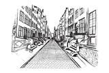 Panorama Gdańska. Rysunek ręcznie rysowany na białym tle. - 132520289