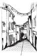 Ulica miasta Sant Tropez. Rysunek ręcznie rysowany na białym tle.