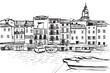 Panorama miasta Sant Tropez. Rysunek ręcznie rysowany na białym tle.