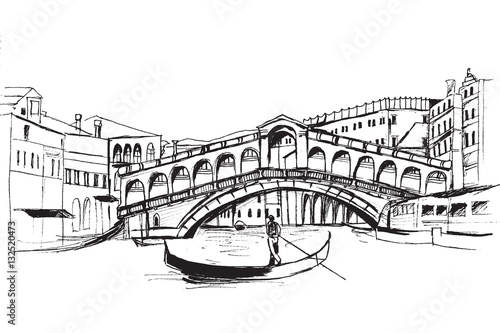 Fototapeta Panorama miasta Wenecja. Rysunek ręcznie rysowany na białym tle. obraz