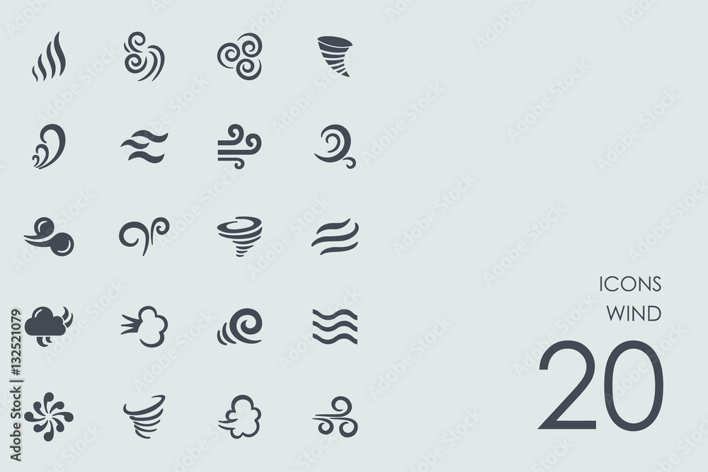 Fototapety, obrazy: Set of wind icons
