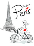 Fototapeta Paris - Francuzka na rowerze z Wieżą w tle