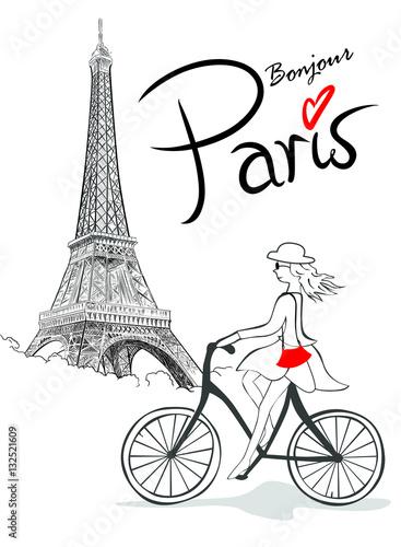 Francuzka na rowerze z Wieżą w tle