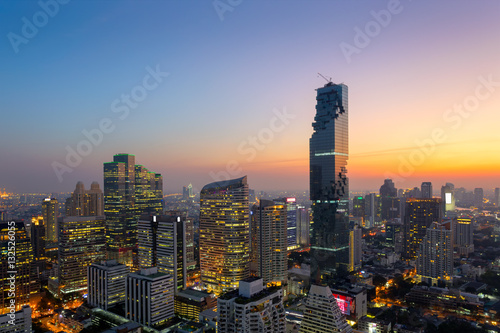 Tuinposter Bangkok Aerial view of Bangkok modern office buildings, condominium in Bangkok city downtown with sunset sky ,Bangkok is the most populated city in Southeast Asia. Bangkok , Thailand