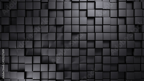 Metal structure made of displaced cubes background 3d render