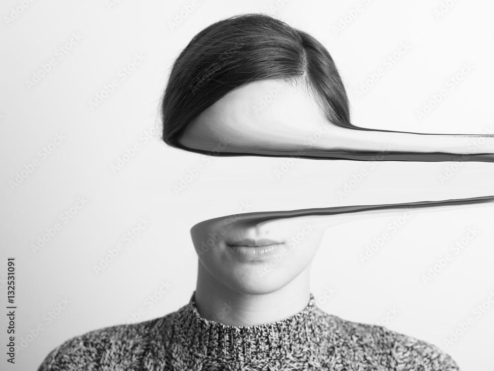 Fototapeta Black and White Portrait Of Mysterious Girl