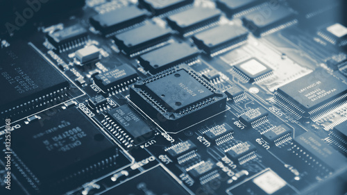 Obraz Microchips on a circuit board. - fototapety do salonu