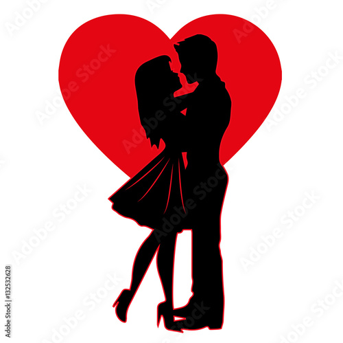 vector-illustration-of-lovers-silhouette-on-a-heart