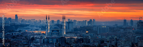 Poster Turkey Ankara and Kocatepe Mosque in sunset
