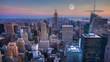 4K UltraHD A Full Moon over Manhattan, New York