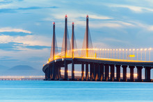 2nd Penang Bridge Or Known As Sultan Abdul Halim Muadzam Shah Bridge View During Dawn