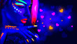 canvas print picture - Valentine's day disco party. Fashion model girl in neon light, flying Valentine neon hearts