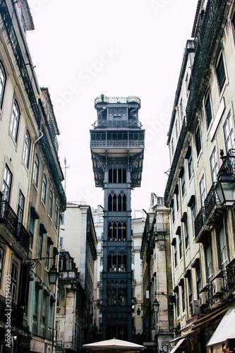 Photo Stands New York Elevador de Santa Justa in the centre of Lisbon, Portugal