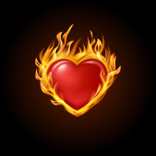 Vector Illustration. Red Burning Heart With Fire On A Black Background. Designs For Banners, Cards, Invitations For Valentine's Day, Medical Cardiograms.