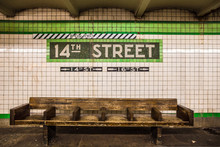 Bench At New York City Subway ...