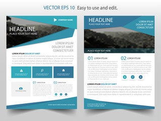 Blue Vector business proposal Leaflet Brochure Flyer template design, book cover layout design, abstract business presentation template, a4 size design