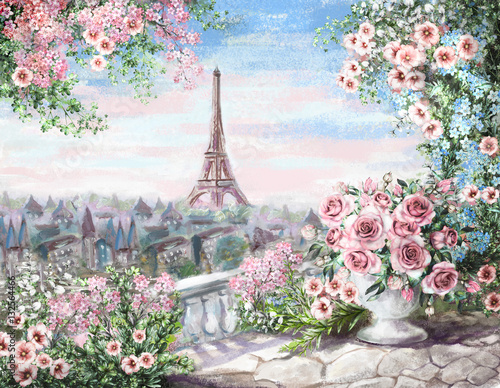 Fototapeta Oil Painting, summer in Paris. gentle city landscape. flower rose and leaf. View from above balcony. Eiffel tower, France, wallpaper. watercolor modern art obraz