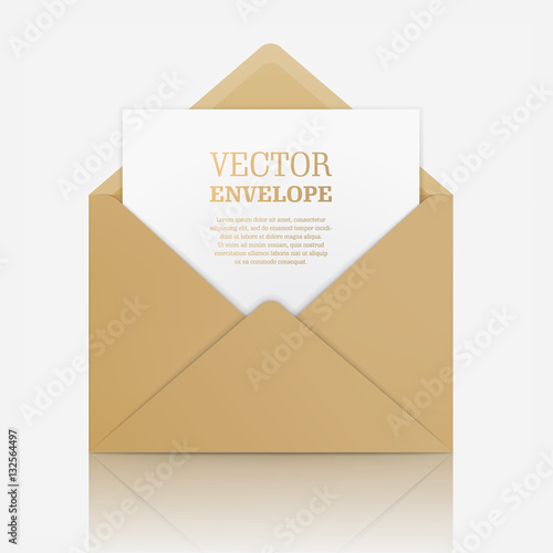 Blank template of open beige envelope with empty sheet vector blank template of open beige envelope with empty sheet vector realistic mockup for letter or stopboris Choice Image
