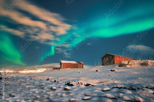 Fotografia, Obraz  Illuminated Tent with northern Lights .Tromso