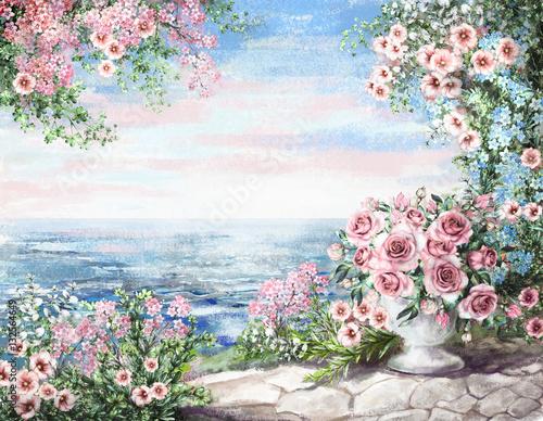 Fototapety, obrazy: cute Oil Painting, summer, blue sea. gentle marine landscape. pink flower rose in vase and leaf. View on ocean. wallpaper. watercolor modern art.