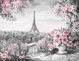 Oil Painting, summer in Paris. gentle city landscape. flower rose and leaf. View from above balcony. Eiffel tower, France, wallpaper. watercolor modern art. Gray and pink - 132564816