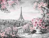 Obraz olejny, lato w Paryżu. łagodny krajobraz miasta. kwiat róży i liści. Widok z góry na balkon. Wieża Eiffla, Francja, tapeta. akwarela sztuka współczesna. Szary i różowy - 132564816