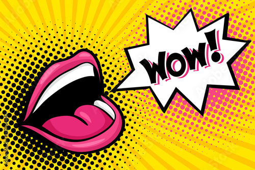 Sexy open female mouth screaming and Wow speech bubble. Vector bright background in comic retro pop art style.