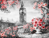 Oil Painting, summer in London. gentle city landscape. flower rose and leaf. View from above balcony. Big Ben, England, wallpaper. watercolor modern art. Red. black and white - 132565606