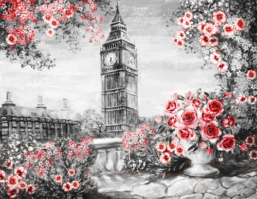Plakaty Oil Painting, summer in London gentle city landscape flower rose and leaf View from above balcony Big Ben, England, wallpaper watercolor modern art Red black and white