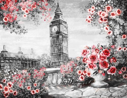 obraz-olejny-lato-w-londynie-delikatny-krajobraz-miasta-kwiat-roza-i-lisc