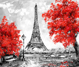 Fototapeta Wieża Eiffla - Oil Painting, Paris. european city landscape. France, Wallpaper, eiffel tower. Black, white and red, Modern art