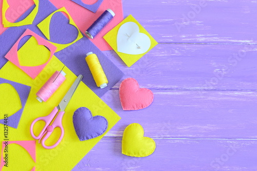 Colorful Felt Heart Ornament Set Craft Supplies On Wooden