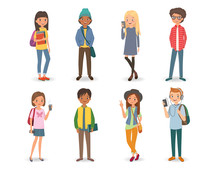 International Students With Books, Phones And Backpacks