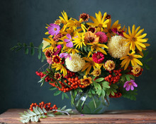 Autumn Bouquet With Garden Flowers And Berries.