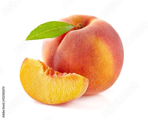 Beauty peach with leaf