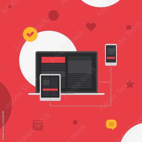 Fotografie, Obraz  Responsive Adaptive Interface on Devices Screen Flat Vector Illustration