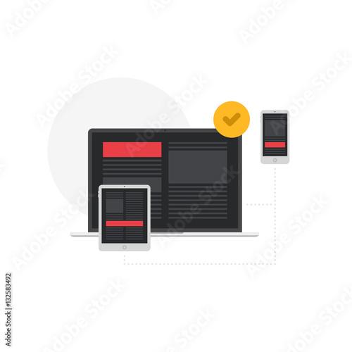 Fotografie, Obraz  Responsive Adaptive Interface on Devices Screen Flat Vector Illustration