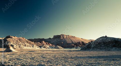 Poster Olive Dünenlandschaft in der Atacama Wüste / Chile
